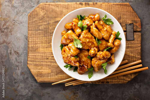 Fotografie, Obraz  Spicy sweet and sour chicken with rice and cabbage