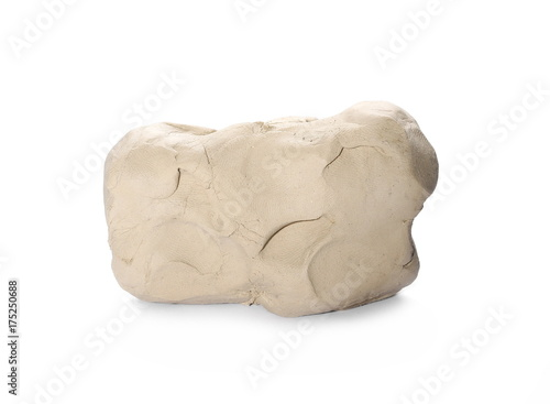 Grey modelling clay block isolated on white background
