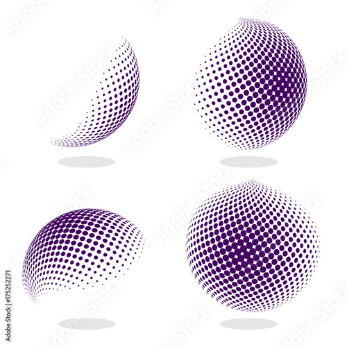 Fotografía  Abstract globe dotted sphere, 3d halftone effect vector background