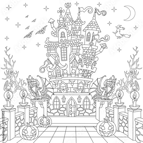 Halloween Coloring Page Spooky Castle Pumpkins Flying Bats Witch Gothic