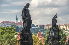 Monument On The Charles Bridge In Prague. Czech Republic.