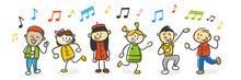 Strichfiguren Kinder Singen