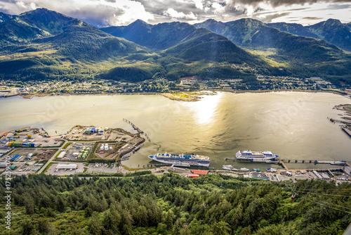 City on the water JUNEAU, ALASKA-SEPT 2, 2017: Juneau pier where all big cruise come by as a gate way to Alaska. Juneau is the capital of Alaska.