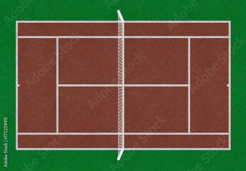 Fényképezés  Tennis field. Tennis brown court. Top view. Isolated. Sports mesh