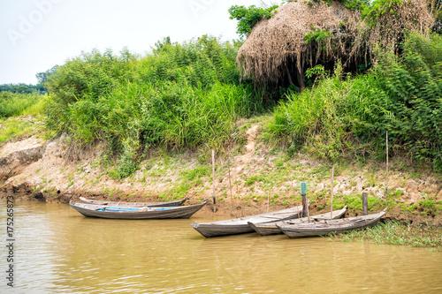 Wooden boats at mooring on river bank in Santarem, Brazil Canvas-taulu