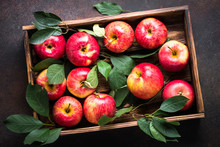 Red Apples In Wooden Tray. Top...