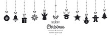 Christmas Ornament Elements Hanging Black Isolated Background