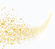 Vector Illustration Of Abstract Falling Golden Stars, Dust