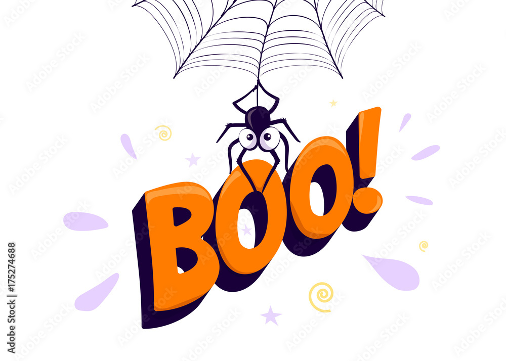 Vector illustration of halloween boo