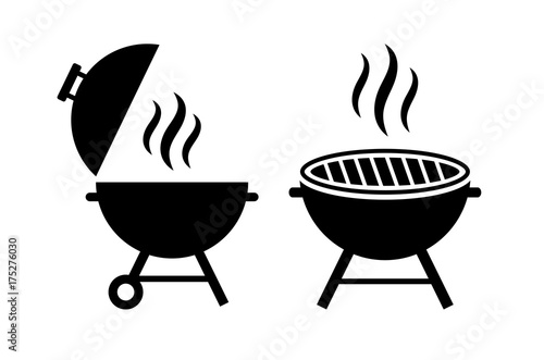 Fotografiet Outdoor grill vector icon