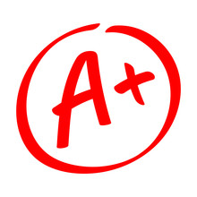 Grade Result - A . Hand Drawn Vector Grade With Plus In Circle.