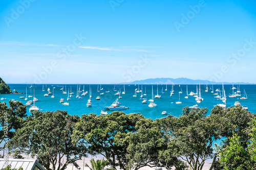 Busy crowded anchorage with many boats causing possible water pollution and sewa Canvas Print