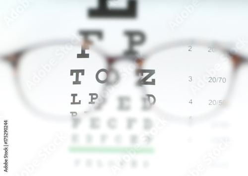 Eye vision test chart seen through eye glasses. Canvas Print