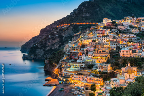 Spoed Foto op Canvas Napels Sunset in Positano, Amalfi Coast, Italy