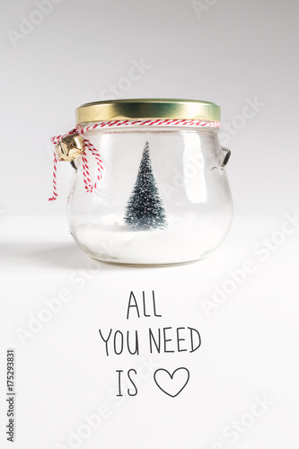Photo  All You Need Is Love message with Christmas tree in a glass Jar