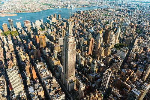 Foto op Plexiglas New York TAXI Aerial view of the skyscrapers of Midtown Manhattan New York City
