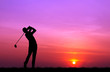 canvas print picture - silhouette golfer playing golf during beautiful sunset