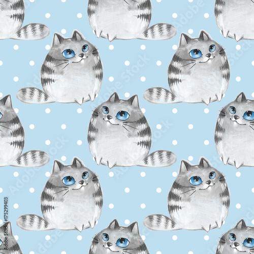 koty-akwarela-kreskowka-niebieski-wzor