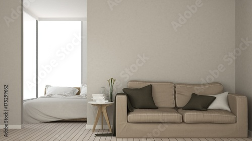 Fototapeta The interior empty space relax space furniture and background decoration minimal - 3d rendering obraz na płótnie