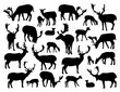 Noble deer silhouettes set isolated on white background. Vector illustration for your wildlife design