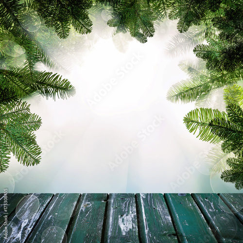 Country Christmas Background.Christmas Background With Empty Wooden Deck Table With