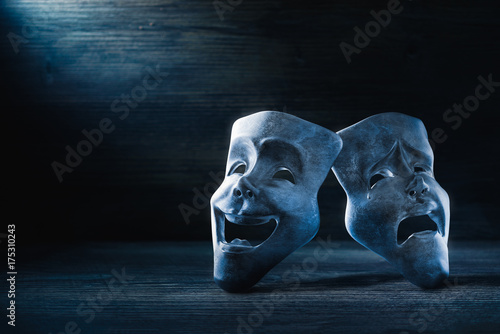 Fotografia  Theater masks on a dark background / 3D Rendering
