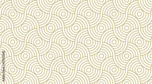 Aluminium Prints Abstract wave Pattern seamless circle abstract wave background stripe gold luxury color and line. Geometric line vector.