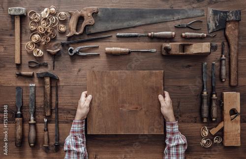 Obraz na płótnie Carpenter working in the workshop