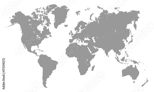 World Map Template | Grey World Map Template Isolated On White Background Vector
