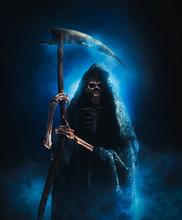 Grim Reaper With Scythe On A S...
