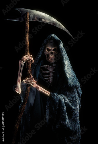 grim reaper with scytheisolated on black / high contrast image Canvas Print