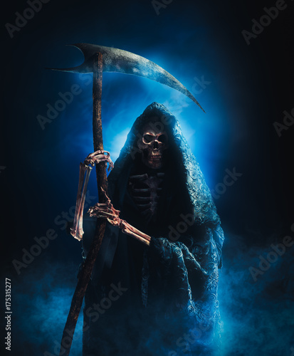 grim reaper with scythe on a smoky background / high contrast image Wallpaper Mural