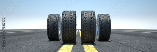 Fotografia, Obraz  Reifen stehen auf Autobahn oder Straße