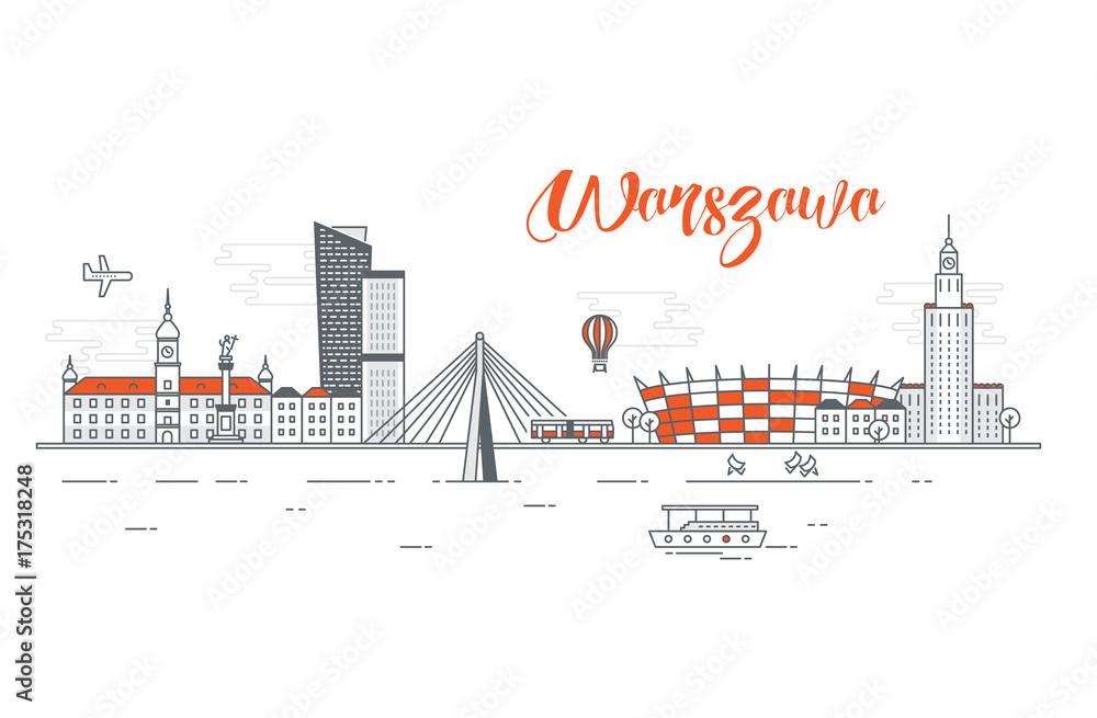 Fototapety, obrazy: Panorama miasta Warszawa