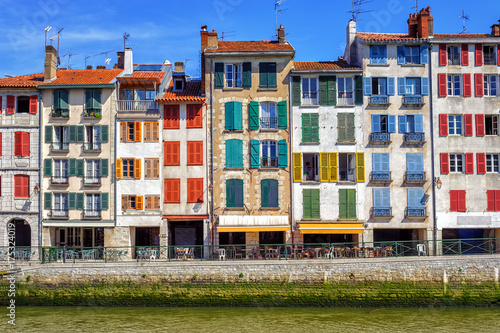 Colorful traditional facades in Bayonne, France