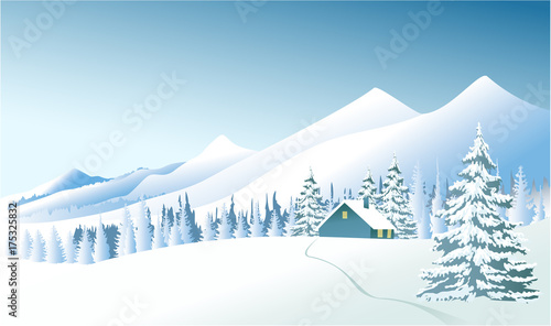 Fotobehang Lichtblauw Winter country landscape