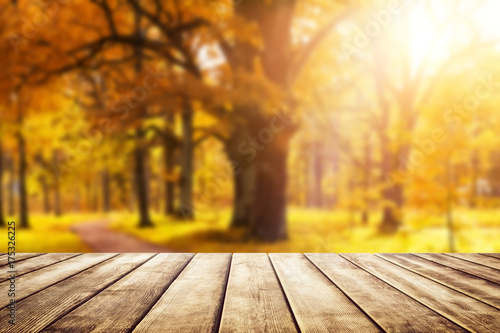 fototapeta na drzwi i meble Old wooden desk top with golden leaves