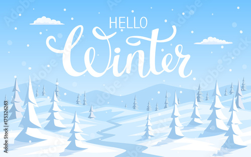 winter snow landscape background with pine trees