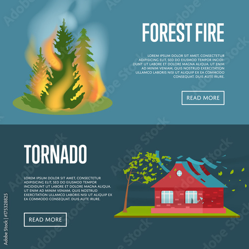 Tornado and forest fire banners Fototapeta