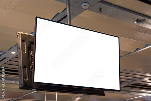 Photo  Blank ad space screen hanging from the ceiling