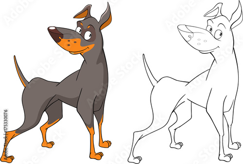 Foto auf AluDibond Babyzimmer Illustration of a Cute Hunting Dog. Cartoon Character