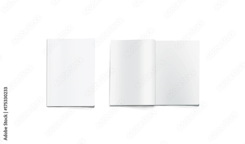 Fototapety, obrazy: Opened and closed blank magazine mockup, isolated. White journal pages mock up lying on desk. Catalog spread and cover template. Empty notebook booklet design inside. Clear book center presentation.