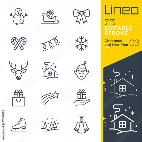 Fotografija Lineo Editable Stroke - Christmas and New Year line icons