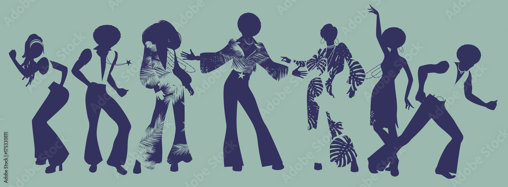 Fototapety, obrazy: Soul Party Time. Dancers of soul, funk or disco.