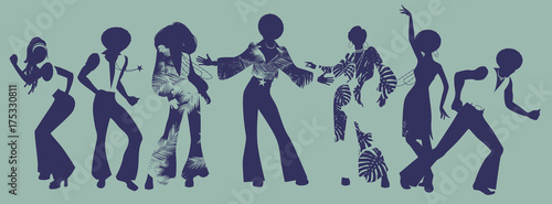 Soul Party Time. Dancers of soul, funk or disco. Poster Mural XXL