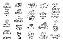 Autumn And Thanksgiving Hand Written Lettering And Doodles Set, Isolated On White