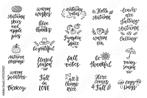 Fotografía  Autumn and Thanksgiving hand written lettering and doodles set, isolated on whit