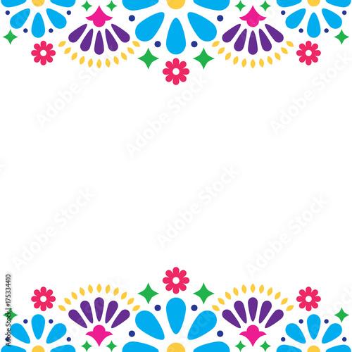 Fotografija  Mexican folk vector wedding or party invitation, floral happy greeting card, col
