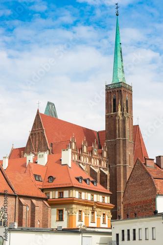 Obraz na dibondzie (fotoboard) Wrocław, widok wyspy Ostrów Tumski, Kościół Świętego Krzyża i św. Bartłomieja, Polska