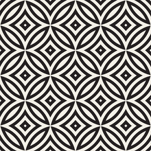Vector Seamless Geometric Rounded Lines Pattern. Abstract Geometric Background Design